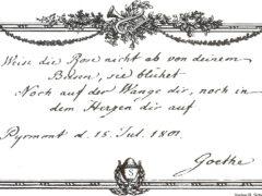 Albumblatt von Goethe an eine Pyrmonter Schwester