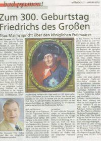 300. Gebvurtstag Friedrichs des Großen